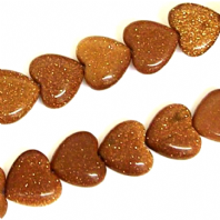 16 Inch Gold Stone 10mm Flat Heart Beads